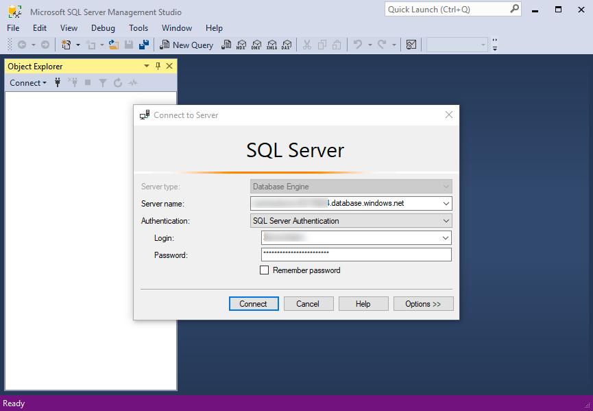 Microsoft%20SQL%20Server%20Management%20Studio%20connection%20to%20Azure%20SQL%20database