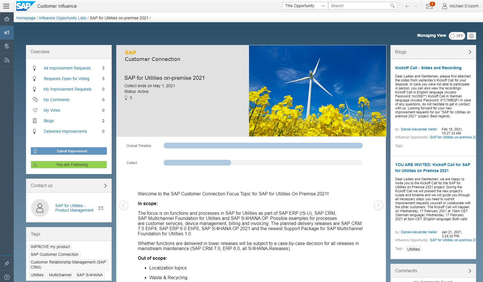Landing%20page%20of%20Customer%20Connection%20project%20SAP%20for%20Utilities%20on-premise%202021