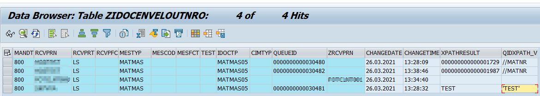 monitoring data in table ZIDOCENVELOUTNRO