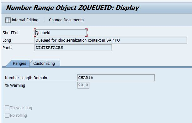 settings of numberrange object ZQUEUEID_SNRO