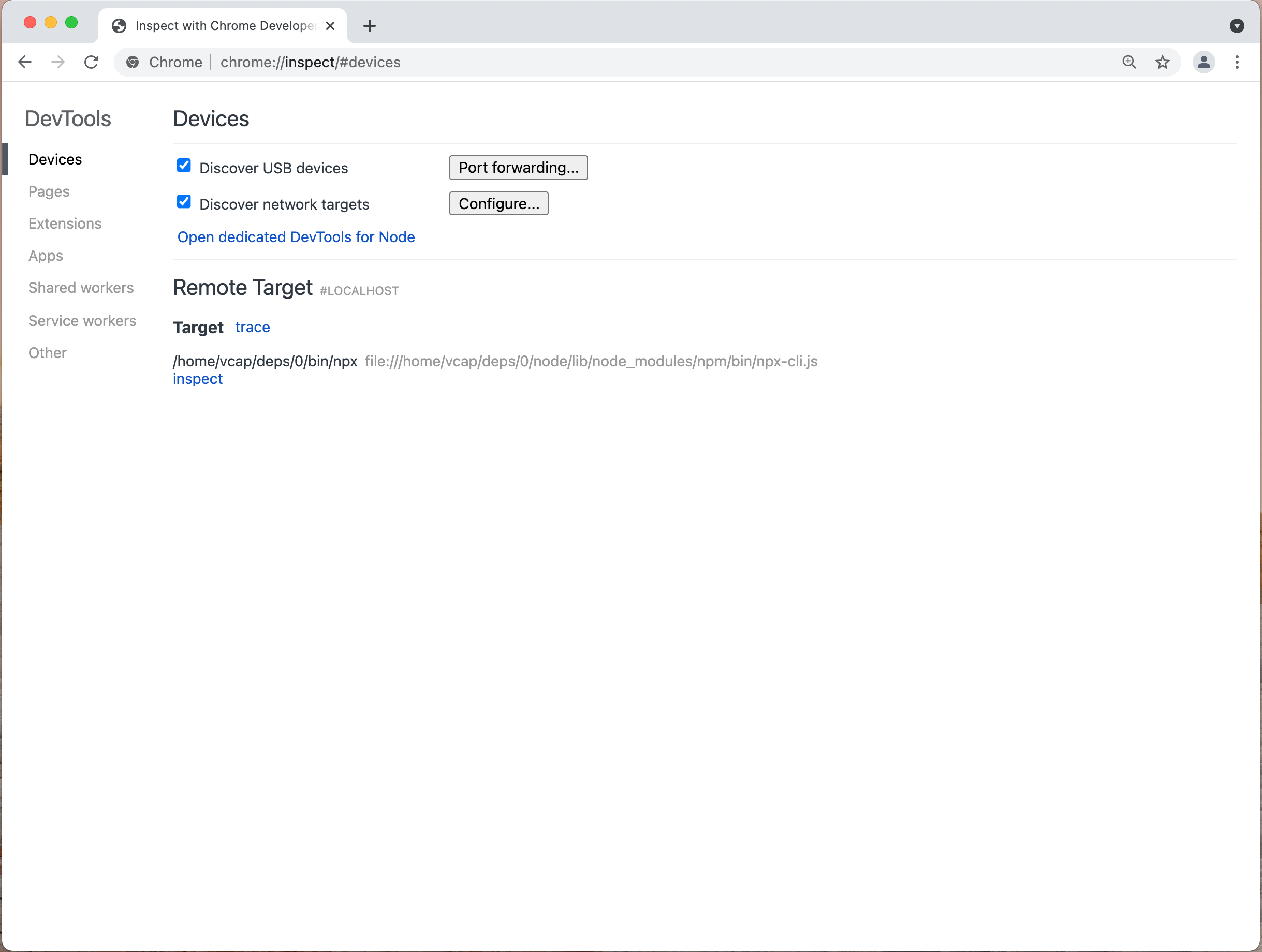 Chrome Browser Window (Inspect Devices Screen)