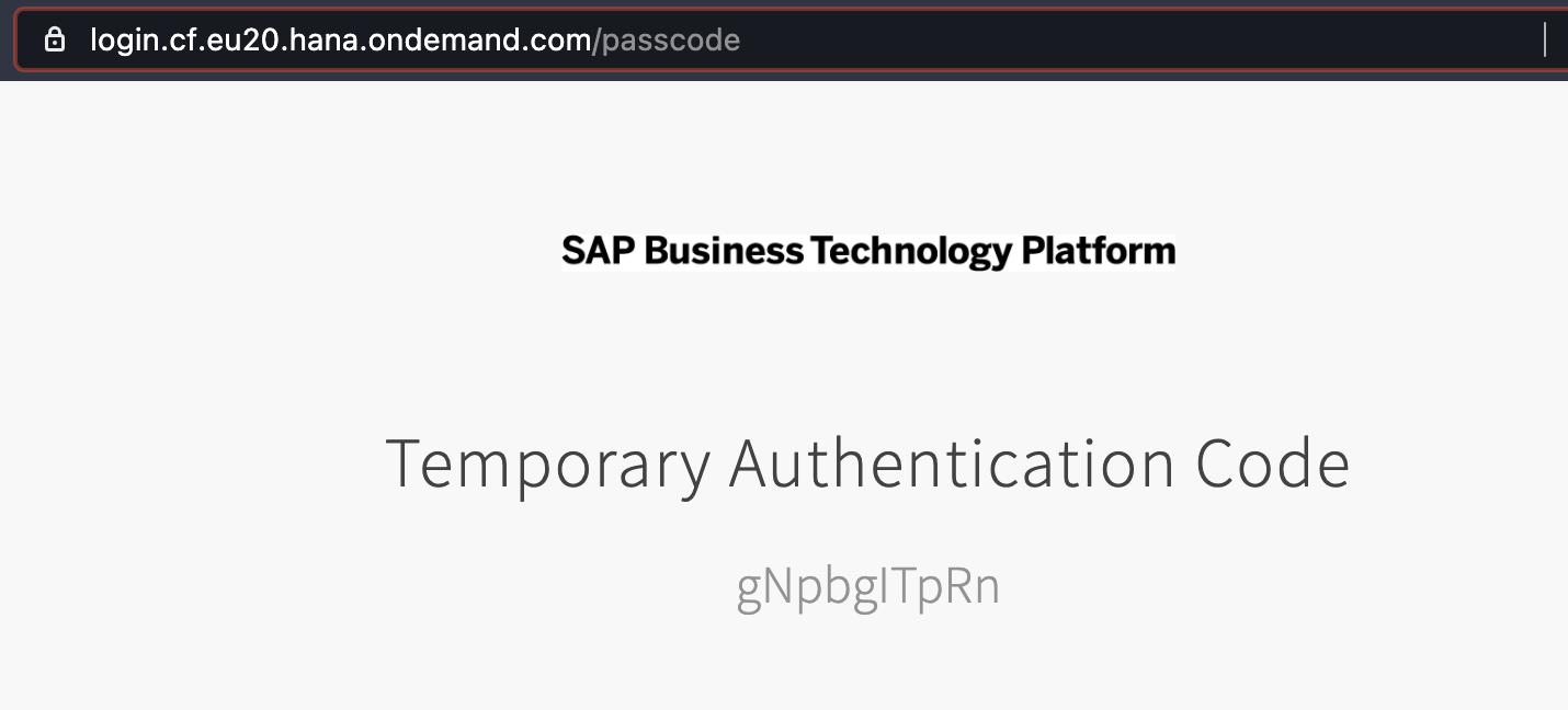 SAP BTP Temporary Authentication Code