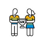 UX%20champions%20logo%3A%20a%20man%20and%20woman%20holding%20a%20trophy%20with%20the%20words%20UX%20inside%20of%20it