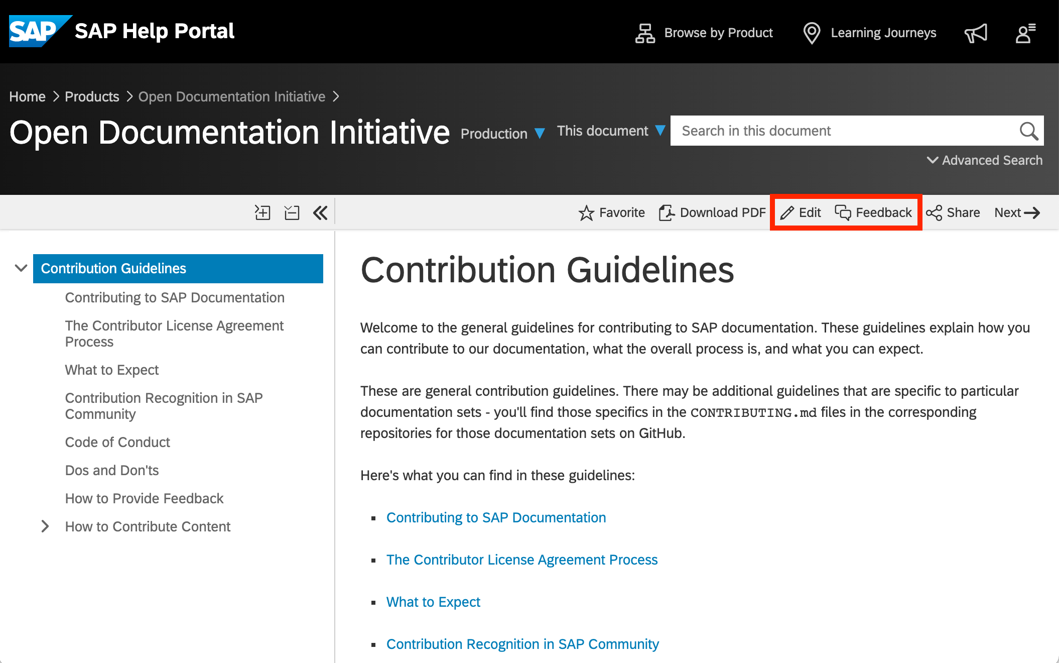 The%20Contribution%20Guidelines%20documentation%20on%20the%20SAP%20Help%20Portal%2C%20with%20the%20Edit%20and%20Feedback%20buttons%20highlighted