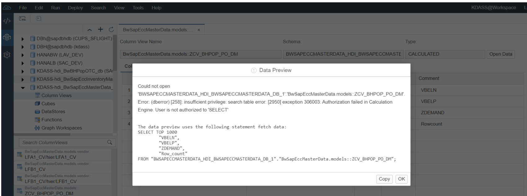 Consume XS classic Hana calculation view from XS Advanced via synonym in a MTA project
