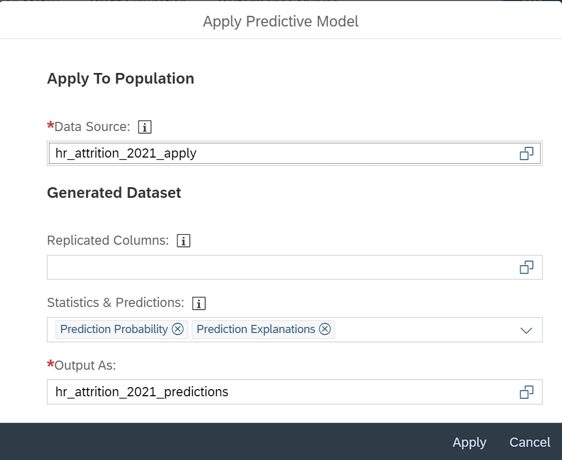 Use%20hr_attrition_2021_apply%20as%20input%20and%20write%20the%20predictions%20to%20hr_attrition_2021_predictions%20%28new%20dataset%29