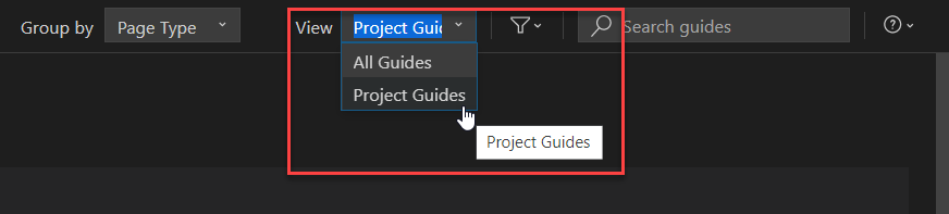 Guided%20Development%20uses%20the%20Project%20Guides%20view%20by%20default.%20Users%20can%20switch%20to%20the%20All%20Guides%20view%20at%20any%20time.