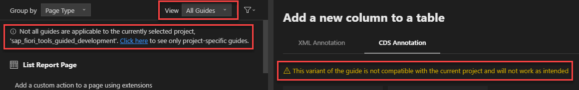 The%20warnings%20displayed%20by%20Guided%20Development%20when%20a%20user%20selects%20a%20guide%20variant%20not%20intended%20for%20their%20project