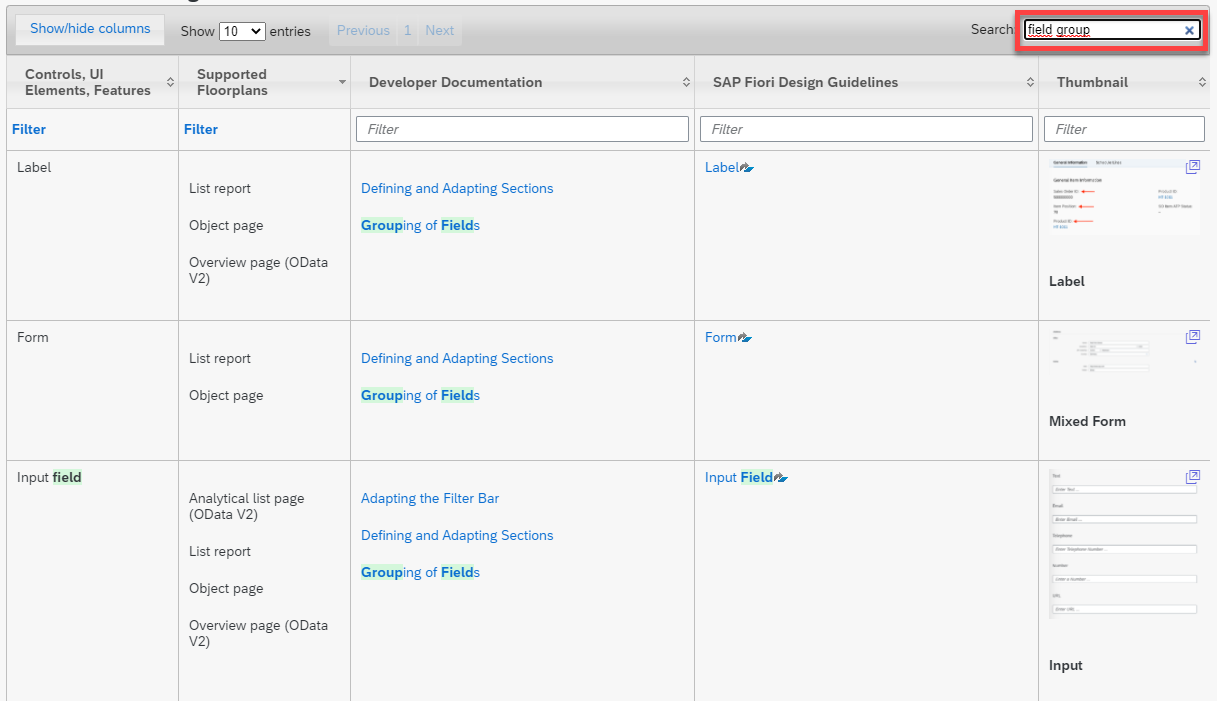 The search field in the SAP Fiori elements feature map makes it easy to find the information you need.