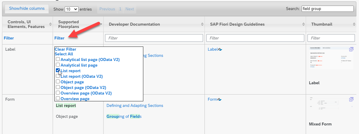 SAP Fiori elements feature map. Filters narrow your search results, bringing you closer to the information you need.
