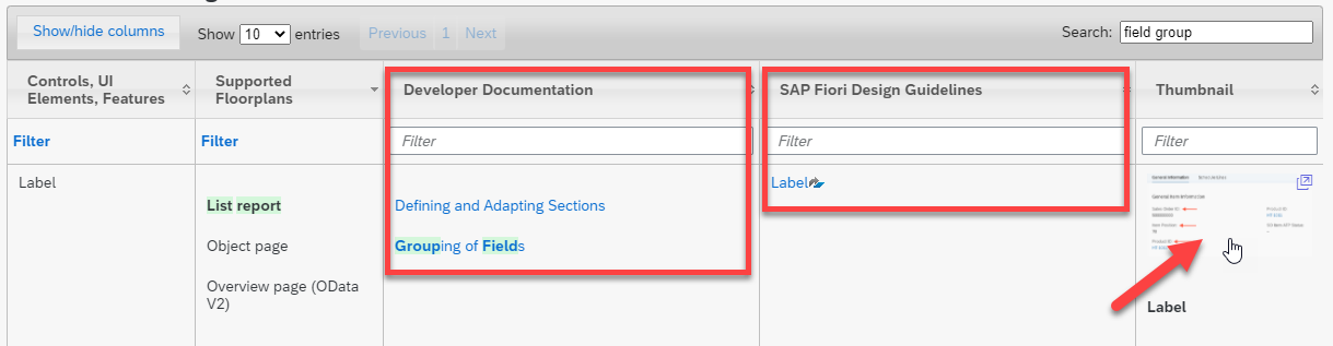 SAP Fiori elements feature map. The results screen provides direct links to developer documentation, SAP Fiori design guidelines along with an interactive thumbnail of the feature in the right context.