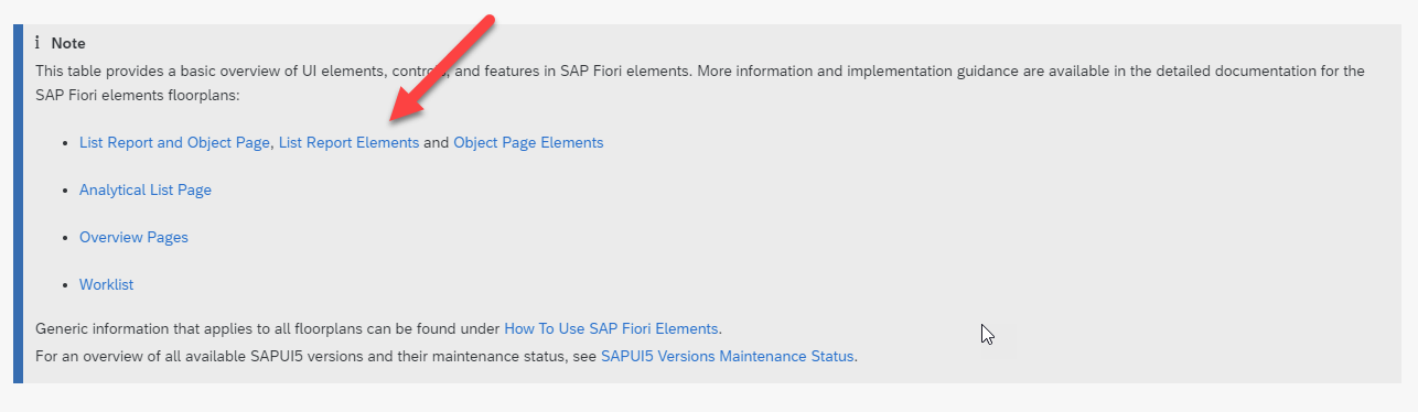 SAP Fiori elements feature map. Click on the item of interest to get started.